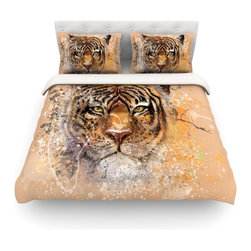 "Kess InHouse - Geordanna Cordero-Fields ""My Tiger"" Orange Tan Cotton Duvet Cover (Twin, 68"" x 8 - Rest in comfort among this artistically inclined cotton blend duvet cover. This duvet cover is as light as a feather! You will be sure to be the envy of all of your guests with this aesthetically pleasing duvet. We highly recommend washing this as many times as you like as this material will not fade or lose comfort. Cotton blended, this duvet cover is not only beautiful and artistic but can be used year round with a duvet insert! Add our cotton shams to make your bed complete and looking stylish and artistic! Pillowcases not included."