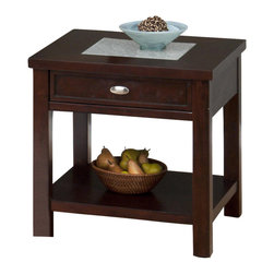 Jofran - Jofran 864-3 End Table with Crackled Glass - One Drawer - One Shelf - Quiet and sophisticated, this end table carries the inherent grace of transitional decor. Clean lines and block legs emphasize a more contemporary shape, while the warm Chadwick Espresso finish and beautiful crackled glass table top insert exude traditional elegance. One drawer and one shelf provide simple chairside storage that looks effortlessly chic in any home. With an elegant appearance and convenient function, this end table epitomizes refined transitional tastes.