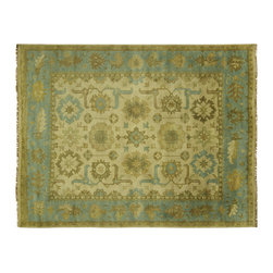Manhattan Rugs - New 9'x12' Neutral Ivory-Baby Blue BorderOushak Hand Knotted Wool Area Rug H5481 - Oushak rugs originated in the small town of Oushak in west central Anatolia, roughly 100 miles south of the city of Istanbul in Turkey. Oushak has produced some of the most decorative Persian influenced rugs of all times. Oushak has been a production center of Turkish rugs since the 15th century. In the late 15th century the 'design revolution' took place. Before, producing carpets was part of the nomad culture, meeting people's daily needs, but for the first time the works of designing and weaving rugs were split in two. These Turkish rugs began to be produced commercially. From the 16th up to the 18th century the most famous manufacturers of ottoman times worked in Oushak. A special heirloom wash produces the subtle color variations that give rugs their distinctive antique look.