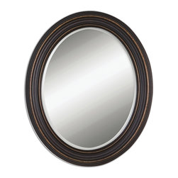 Uttermost - Uttermost 14610 Ovesca Dark Bronze w/ Gold Highlights Oval Mirror - Dark Oil Rubbed Bronze w/ Gold Highlights