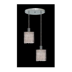 Elegant Lighting - Mini Clear Crystal Pendant w 2 Lights in Chrome (Strass Swarovski) - Choose Crystal: Strass Swarovski. 3 ft. Chain/Wire Included. Bulbs not included. Crystal Color: Crystal (Clear). Chrome finish. Number of Bulbs: 2. Bulb Type: GU10. Bulb Wattage: 55. Max Wattage: 110. Voltage: 110V-125V. Assembly required. Meets UL & ULC Standards: Yes. 9 in. D x 8 to 48 in. H (6lbs.)Description of Crystal trim:Royal Cut, a combination of high quality lead free machine cut and machine polished crystals & full-lead machined-cut crystals..SPECTRA Swarovski, this breed of crystal offers maximum optical quality and radiance. Machined cut and polished, a Swarovski technician¢s strict production demands are applied to this lead free, high quality crystal.Strass Swarovski is an exercise in technical perfection, Swarovski ELEMENTS crystal meets all standards of perfection. It is original, flawless and brilliant, possessing lead oxide in excess of 39%. Made in Austria, each facet is perfectly cut and polished by machine to maintain optical purity and consistency. An invisible coating is applied at the end of the process to make the crystal easier to clean. While available in clear it can be specially ordered in a variety of colors.Not all trims are available on all models.