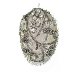 """Beaded Egg - 3"""" Hand Beaded on silk dimensional egg can be hung on an Easter or Christmas tree for an elegant hand crafted heirloom. Each piece comes with a cord for hanging."""