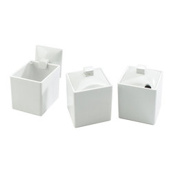 Cal Mil - 4W x 4D x 4H Melamine Square Jars White Full Lid 3 Ct - Square jars allow food or condiments to sit in an organized fashion. Buy as many as you d like they fit side by side for flush looking displays. Solid white jars add the simplicity you ve been looking for to your food presentation.
