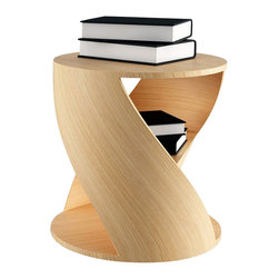 NONO - Nono Mydna Small Table Wood Finish, Oak - The Mydna seems to stretch and bend within your room. This athletic piece is cylindrical with a middle shelves for heirloom editions, new favorites, and poetry anthologies of your choosing.