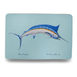 Zeckos - Betsy Drake Colorful Blue Marlin Comfort Floor Mat 18 In. x 26 In. - Add a pop of aquatic charm to the floor by the shower, the front door or kitchen with this colorful floor mat featuring an energetic blue marlin swimming in the deep blue sea. Made of synthetic washable materials, it's sure to give you years of enjoyment while the non-slip rubber backing helps keep it in place, and the 1/4 inch thickness provides comfort and relief while standing. Measuring 18 inches (46 cm) wide and 26 inches (66 cm) long, it's great for a pool area, laundry room or next to the bed or closet in a bedroom, and would make a wonderful housewarming gift