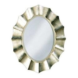 Corona Modern Silver Leaf 32-Inch-W Oval Wall Mirror -