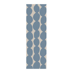 """Surya - Textila Hand Woven Wool Runner Rug in Light Gray / Sky Blue (2'6"""" x 8' - The contemporary design of Hand Woven Wool Runner Rug is combined with a unique pattern in bold colors including Light Gray and Sky Blue. This rug crafted from wool, and can be used in a multitude of spaces, including covered outdoor patios, porches, mudrooms, kitchens, entryways and much, much more.    Features:"""