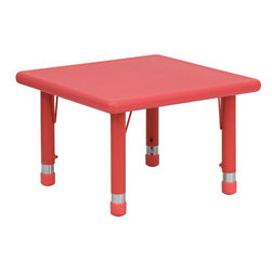 Flash Furniture - 24'' Square Height Adjustable Red Plastic Activity Table - Stop kidding around and make learning fun. Primary colors speak to children in bold, bright ways, making this durable table an ideal way to encourage their artistic and creative impulses. Featuring a plastic top and steel welding underneath, it's certain to last through the childhood years.