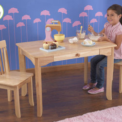 KidKraft - Avalon Kids 3 Piece Table and Chair Set - The Avalon Table and 2 - Chair Set is simple, elegant and would look perfect in any child's room. The sturdy table is an ideal place for kids to finish up homework, play with their favorite toys or even eat a quick snack. Features: -Designed for growing children.-Large, central desk drawer.-Additional Avalon chairs can be purchased separately to seat more children.-Made of wood.-Sturdy construction.-Collection: Avalon.-Distressed: No.Dimensions: -Table - Dimensions: 24'' H x 24'' W x 36'' D.-Chair - Dimensions: 26.75'' H x 13'' W x 13.5'' D.-Seat Height: 14''.-Overall Product Weight: 52 lbs.