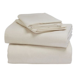Coyuchi - Coyuchi Organic Cloud Brushed Flannel Sheet Set, Natural, Queen - Thick cotton flannel, brushed to an incredibly soft hand, makes these weighty six-ounce sheets luxuriously comfy and warm.