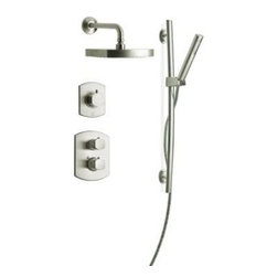 """LaToscana - LaToscana TCSHOWER3NOB Brushed Nickel Novello Novello Shower System - Novello Shower System with Thermostatic Mixing Valve, Wall Mounted Diverter, Rainshower Shower Head and Personal Hand Shower with 30"""" Slide BarInstall the LaToscana Novello Combination 3 Hand shower and Showerhead Combo Kit in Brushed Nickel in your bathroom for a luxurious, spa-inspired touch. This kit features a hand shower with a 60 in. hose for an old-fashioned showering experience and incorporates a thermostatic shower valve to maintain your preset water temperature to give you the option of never adjusting the temperature. The brushed nickel finish provides a handsome accent to a variety of decorative schemes.LaToscana SHOWER3NO Features:Solid brass construction provides long-lasting durabilityBrushed nickel finish for a touch of classic styleThree-way diverter provides multifunction controlThermostatic shower valve provides easy control of the water volume and temperatureBuilt in volume control valveCeramic disc valves promote drip-free operationSafety stop limitAnti-scaldCylindrical knob6 different shower modes:ShowerShower and slide barSlide bar onlySlide bar and body jetsBody jets onlyBody jets and showerIncludes:1 thermostatic valve (86690)1 3-way diverter valve (86425)1 slide bar kit (86124)1 showerhead, arm and flange (86750)Slide bar kit features:30"""" slide bar8"""" single function hand shower78"""" flexible hoseSupply elbowAll products made in ItalyLaToscana SHOWER3NO Specifications:3/4"""" valve1/2"""" IPS inlets2.5 GPM flow rate to provide a steady water flow8.25"""" shower head diameter8.5"""" shower arm length"""