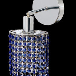 Elegant Lighting - Mini Ellipse Chrome One-Light Bath Fixture with Royal Cut Sapphire Blue Crystal - Royal Cut crystal is a combination of high quality lead free machine cut and machine polished crystals and full-lead machined-cut crystals to meet a desirable showmanship of an authentic crystal light fixture.  -Recommended to be professionally hung and supported independently of the outlet box. Consult an electrician for guidance to determine the correct hanging procedure.  -Crystals may ship separately and some assembly is required.  -Depending on the size & design the assembly can be time consuming, but is well worth the effort. Elegant Lighting - 1281W-R-E-SA/RC