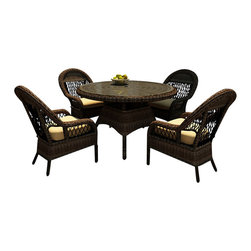 Forever Patio - Leona 5 Piece Round Patio Dining Set, Canvas Wheat Cushions - Enjoy dining from the comfort of your own patio with the wonderful, traditional styled Forever Patio Leona 5 Piece Patio Wicker Round Dining Set with Gold Sunbrella cushions (SKU FP-LEO-5RDN-MC-CW). The set seats 4 adults comfortably, and includes 4 dining chairs and a dining table with a glass top. This set features Mocha resin wicker with a full round design that creates a complex and luxurious look. Each strand of this outdoor wicker is made from High-Density Polyethylene (HDPE) and is infused with the rich color and UV-inhibitors that prevent cracking, chipping and fading ordinarily caused by sunlight, surpassing the quality of natural rattan. The outdoor wicker dining set set is supported by thick-gauged, powder-coated aluminum frames that make it extremely durable and resistant to corrosion. Also included are cushions covered in fade- and mildew-resistant Sunbrella fabric. The plush cushions and deep seating make this patio dining set a delight.