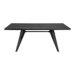 Imported Furniture - Prouve Gueridon Dark Rectangular EM Black Table - The Prouve Gueridon Style table was designed way back in 1949 for the University of Paris. Made from mostly natural materials Prouve created a beautiful, sleek, contemporary, versatile and durable design that even today, still grows in popularity.