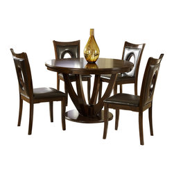 Homelegance - Homelegance VanBure 5-Piece Round Pedestal Dining Room Set in Rich Cherry - Classic elegance is achieved with the design of the VanBure collection. The tabletop features book-match veneers and is gracefully supported by the stately table base. The coordinating chairs feature an oval cutout accent, wood framing and dark brown bi-cast vinyl seating. The entire collection is finished in a rich cherry, further lending to the elegant design.