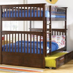 Columbia Bunk Full bed full/full in Antique Walnut by Atlantic Furniture - The Columbia Bunk Bed is the perfect mission-style bunk bed for your children's bedroom. Available in twin-over-twin, twin-over-full, or twin-over-futon designs with railings on the top bunk, the sturdy Columbia Bunk Bed is constructed of solid hardwood. Add optional under-bed storage drawers or an optional trundle unit (neither option works with twin-over-futon style) under the bed to provide even more convenient space. The bunk bed comes with two modesty panels, which can be attached to both ends of the bunk bed to give the Columbia Bunk Bed a more grounded look. Available in Natural Maple, Antique Walnut, and White finishes, the Columbia Bunk Bed is sure to become your child's favorite sleepy-time fort.