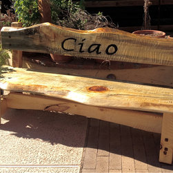 Rustic Western Style Furniture - Natural edge pine slab bench made for a customer who's ranch was called Ciao, Mesquite Plugs and mortise and tenon construction. Wood=Natural edge, live edge ponderosa pine.