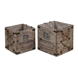 Rustic French Wine Bouchard Crates Set of 2 - *Lightly Stained, Rustic Solid Fir Wood With Wrought Iron Metal And Hemp Rope Details. Sizes: Sm-14x14x14, Lg-16x16x16