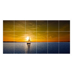 Picture-Tiles, LLC - Boat Ship Picture Kitchen Bathroom Ceramic Tile Mural  18 x 36 - * Boat Ship Picture Kitchen Bathroom Ceramic Tile Mural 1212