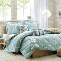 ID-Intelligent Designs - Intelligent Design Charley Floral 5-piece Comforter Set - Update your space with the Intelligent Design Charley comforter set. Printed on polyester softspun,this comforter displays an updated aqua floral print with a solid khaki reverse. Two decorative pillows complete the look.