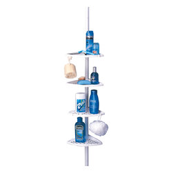 "Better Living Ulti-Mate Shower Pole Caddy in White - 70040 - The ultimate corner storage system for your bath or shower! The pole extends up to 98"" (2.5m) high and is made of rust-proof aluminum. All four shelves are fully adjustable and self draining. The Ulti-Mate Shower Pole is easy to install without tools and will leave your surface un-damaged."
