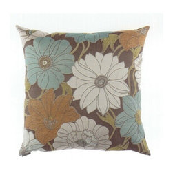 "Canaan - 24"" x 24"" Zinnia Truffle Floral Pattern Throw Pillow with A Feather/Down Insert - 24"" x 24"" Zinnia Truffle floral pattern throw pillow with a feather/down insert and zippered removable cover. These pillows feature a zippered removable 24"" x 24"" cover with a feather/down insert. Measures 24"" x 24"". These are custom made in the U.S.A and take 4-6 weeks lead time for production."