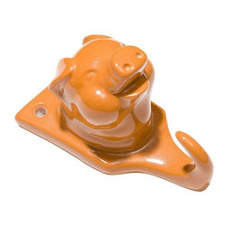 Pre-owned Resin Pig Hook - Orange - This adorable piggy hook will add a tiny pop of color to walls! Use it to hang a towel in the kitchen, or your keys near your door. Oink! Oink! Multiple quantities available, please contact support@chairish.com with inquiries.