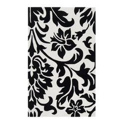 """Surya - Surya Cosmopolitan COS-9062 (White, Coal) 3'6"""" x 5'6"""" Rug - Hand tufted from 100% poly-acrylic fibers, these economical rugs come in designs inspired by high-fashion and abstract art. Contemporary and transitional themes are seen throughout the collection and make for a diverse group of rugs that can be utilized in a number of different types of rooms."""