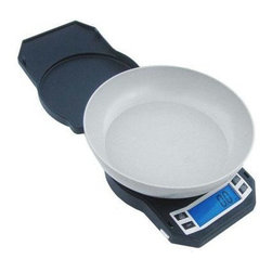"""American Weigh Scales - Compact Kitchen Bowl Scale - Compact kitchen bowl scale, large expansion bowl, counting feature, 105oz/3000g capacity/.005oz/.1g graduation, backlight display (.9""""x2.4"""") can be turned on or off, platform size 7.3""""x5.5"""", 10 year warranty, 4-AA batteries included, black color."""