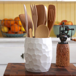 Hand-Carved Kitchen Utensil Holder, Geometric by Back Bay Pottery - This kitchen crock was formed on a potter's wheel and then hand carved into a unique faceted geometric design. Its creamy white coat is so fresh and beautiful.