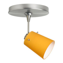 """Besa Lighting - Besa Lighting 1SP-5118AM Tammi MR16 Halogen Spot Light - Tammi 3 features a tapered drum shape, open at the top, that fits beautifully in transitional spaces. Our Apricot Matte glass is a bright, yellow-orange cased glass, with an opal inner layer. This look creates an atmosphere that can be calming and earthy. When lit this gives off a light that is functional and soothing. The smooth satin finish on the clear outer layer is a result of an extensive etching process. This blown glass is handcrafted by a skilled artisan, utilizing century-old techniques passed down from generation to generation. The 12V spotlight fixture is equipped with a 1.5"""" long stem, swivel lampholder, quick connect jack, and a low profile flat monopoint canopy.Features:"""