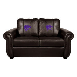 Dreamseat Inc. - Kansas State University NCAA Chesapeake BROWN Leather Loveseat - Check out this awesome Loveseat. It's the ultimate in traditional styled home leather furniture, and it's one of the coolest things we've ever seen. This is unbelievably comfortable - once you're in it, you won't want to get up. Features a zip-in-zip-out logo panel embroidered with 70,000 stitches. Converts from a solid color to custom-logo furniture in seconds - perfect for a shared or multi-purpose room. Root for several teams? Simply swap the panels out when the seasons change. This is a true statement piece that is perfect for your Man Cave, Game Room, basement or garage.