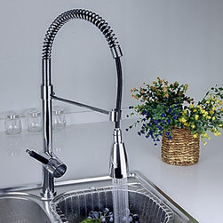 Kitchen Sink Faucets - Spring Solid Brass Kitchen Faucet with Color Changing LED Light--FaucetSuperDeal.com