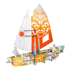 OOTS! - Totem: Sail Cardboard Toy - Set sail for fun. Your child will love pretending to navigate the Seven Seas after assembling this recycled cardboard sailboat toy.