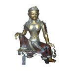 Golden Lotus - Chinese Handmade Metal Golden Gilt Color Tara Statue - This is a traditional Chinese Tibetan style Tar statue made from metal and gilted with brownish, light metal and golden color for the dress, edge motif and body. It is a decorative worship piece with its precise detail and vintage finish.