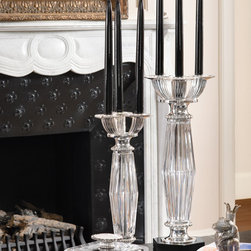 STAR collection - BALDI medium and large candlestick in 24% lead clear crystal polish star cut with black belgium marble and silverplated bronze