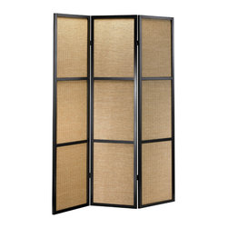 "Adesso Inc. - Haiku Black Folding Screen - Wood frame with three woven bamboo panels.  Each panel contains three rectangular sections.  Black with khaki colored bamboo.  Double hinges allow the panels to be folded in either direction.  Each panel: 17"" Width.  Total Screen: 52"" Width, 1"" Depth, 70"" Height.  Bamboo boxes: 15"" Width, 21.5"" Height.  Screen rests flat on the floor."