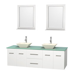 "Wyndham Collection - Centra 72"" White Double Vanity, Green Glass Top, Pyra Bone Porcelain Sinks - Simplicity and elegance combine in the perfect lines of the Centra vanity by the Wyndham Collection. If cutting-edge contemporary design is your style then the Centra vanity is for you - modern, chic and built to last a lifetime. Available with green glass, pure white man-made stone, ivory marble or white carrera marble counters, with stunning vessel or undermount sink(s) and matching mirror(s). Featuring soft close door hinges, drawer glides, and meticulously finished with brushed chrome hardware. The attention to detail on this beautiful vanity is second to none."