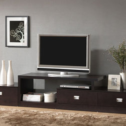 """Wholesale Interiors - Baxton Studio Marconi 47"""" TV Stand - Ideal for an extra-long wall, our versatile Marconi TV Stand is a marvel of what superior function and style can do together! Three drawers paired with ample open shelving and top surface space gives plenty of options for storing electronics components or displaying your favorite decor. Features: -Dark brown faux wood grain paper veneer.-Silver drawer pulls.-Three drawers and many shelving spaces.-Engineered wood frame.-Baxton Studio collection.-Recommended TV Type: No.-Finish: Dark brown.-Powder Coated Finish: No.-Gloss Finish: No.-Material: Engineered wood.-Number of Items Included: 1.-Solid Wood Construction: No.-Distressed: No.-Exterior Shelves: Yes -Number of Exterior Shelves: 2.-Adjustable Exterior Shelves: No..-Drawers: Yes -Number of Drawers: 3.-Drawer Handle Design: Finger pulls..-Cabinets: No.-Scratch Resistant: No.-Casters: No.-Lighted: No.-Media Player Storage: Yes.-Media Storage: Yes.-Remote Control Included: No.-Batteries Required: No.-Swatch Available: No.-Commercial Use: No.-Collection: Baxton Studio.-Eco-Friendly: No.-Recycled Content: No.-Lift Mechanism: No.-Expandable: No.-TV Swivel Base: No.-Integrated Flat Screen Mount: No.-Non-Toxic: Yes.-Product Care: Wipe clean.Specifications: -ISTA 3A Certified: No.-CARB 2 Certified: No.-CARB Certified: No.-FSC Certified: No.-General Conformity Certified: No.-CSA Certified: No.-EPP Certified: No.Dimensions: -Overall Height - Top to Bottom: 18"""".-Overall Width - Side to Side: 94.38"""".-Overall Depth - Front to Back: 17.8"""".-Drawer: -Drawer Interior Height - Top to Bottom: 5"""".-Drawer Interior Width - Side to Side: 20"""".-Drawer Interior Depth - Front to Back: 15""""..-Shelving: -Shelf Height - Top to Bottom: 13"""".-Shelf Width - Side to Side: 22"""".-Shelf Depth - Front to Back: 17.5""""..-Overall Product Weight: 110 lbs.Assembly: -Assembly Required: Yes.-Tools Needed: Screwdriver.-Additional Parts Required: No."""