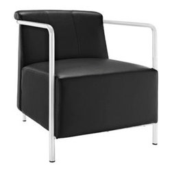 """LexMod - Ebb Vinyl Lounge Chair in Black - Ebb Vinyl Lounge Chair in Black - Gradually ease into your living space with the Ebb lounge chair. Ebbs design flows a calming effect over your room as you sink into the plush vinyl seat and back. Ebbs stainless steel round tube arms develop the perfect enclosure to the progressive organic design. Ebb is perfect for contemporary homes and other settings on the move. Set Includes: One - Ebb Vinyl Lounge Chair Contemporary lounge chair, Stainless steel tube arms, Padded vinyl seat and back, Black plastic foot caps, Comes fully assembled Overall Product Dimensions: 31""""L x 24""""W x 28.5""""H Seat Dimensions: 19""""L x 22.5""""W x 17.5""""HBACKrest Dimensions: 8""""L x 13.5""""H Cushion Thickness: 13""""H - Mid Century Modern Furniture."""