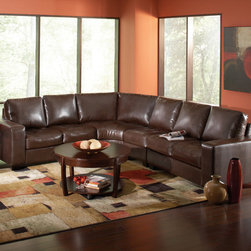 Coaster - Howard Sectional, Dark Brown - Sit back and relax in our Howard sectional. Featuring a slanted back for great lumbar support, wide track arms, comfortable curved corner seating and tufted seating, this collection is both inviting and stylish. Expand the size the of this sectional by adding armless chairs G��_��_ making this sectional perfect for any size living room. Pair our Howard sectional with a large, overfilled ottoman wrapped in matching dark brown Bonded Leather Match.
