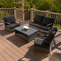 Belladonna Resin Wicker 4-Piece Patio Lounge Set - This all-weather wicker deep seating collection is durable and features ultra-comfortable, removable cushions.