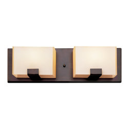 Rubbed Oil Bronze And Acrylic Cube 2 Light Halogen Bath Wall - Condition: New - in box