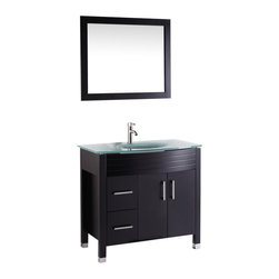 "Vanova - Vanova VA104-36E Espresso Cabinet, Basin & Mirror Brown Vanity - Our stylish floor standing all wood vanity includes a frosted glass top with an integrated round sink. Soft closing doors and two left sided drawers with matching mirror.  Color: Espresso, Vanity: 36""W x 21""D x 33""H, Mirror: 33""W x 27""H, Includes: Cabinet-frosted glass basin & mirror, Hardware: Soft-closing doors and drawers, Faucet & drain not included"