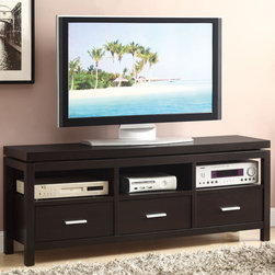 Coaster - 700885 TV Console, Cappuccino - What sets this TV console apart from the rest is the appearance of a floating table top. With this casual style, three drawers and open storage space, this TV console is perfect for any home. Finished in cappuccino.