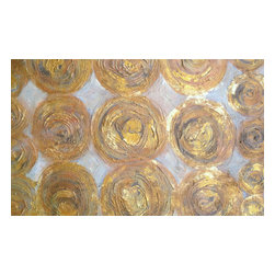Bryan Boomershine Art - Gold and White Abstract Painting - Title: Gold Circles