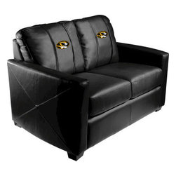 Dreamseat Inc. - University of Missouri NCAA Tigers Xcalibur Leather Loveseat - Check out this incredible Loveseat. It's the ultimate in modern styled home leather furniture, and it's one of the coolest things we've ever seen. This is unbelievably comfortable - once you're in it, you won't want to get up. Features a zip-in-zip-out logo panel embroidered with 70,000 stitches. Converts from a solid color to custom-logo furniture in seconds - perfect for a shared or multi-purpose room. Root for several teams? Simply swap the panels out when the seasons change. This is a true statement piece that is perfect for your Man Cave, Game Room, basement or garage.