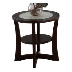 Jofran - Jofran 347-3 End Table with Shelf and Frosted Glass Insert in Espresso - Decorate your living room in casual style with this attractive collection. The three-Piece set features glass inserts as well interesting asymmetrical details. The unique design will add so much character to your space.