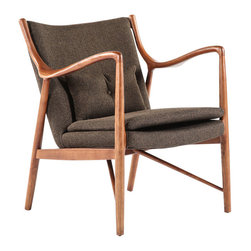 #N/A - The Esjberg Arm Chair - The Esjberg Arm Chair. The Esjberg Arm Chair is made from American Ash stained in Walnut color with fabric upholstery. This elegant and sturdy design will be a statement piece in your home as well as the best seat in the house.