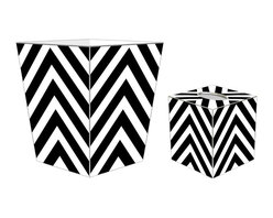 "Marye Kelley - Marye Kelley Black and White Chevron Decoupage Wastebasket with Optional Tissue - This is a handmade decoupage wastebasket with optional tissue box.  All items are handmade in the USA.  There are three different styles available.  There is the 12"" Fluted Tin Design, the 11"" Square Design with a flat top or the 11"" Square design with a scalloped top.  Coordinating tissue boxes may also be made. Please note all items are custom made and may not be returned."